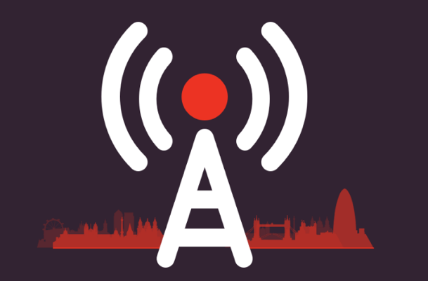 Graphic of a 4g mast with London skyline in the background
