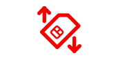 sim card symbol with up arrow and one down arrow