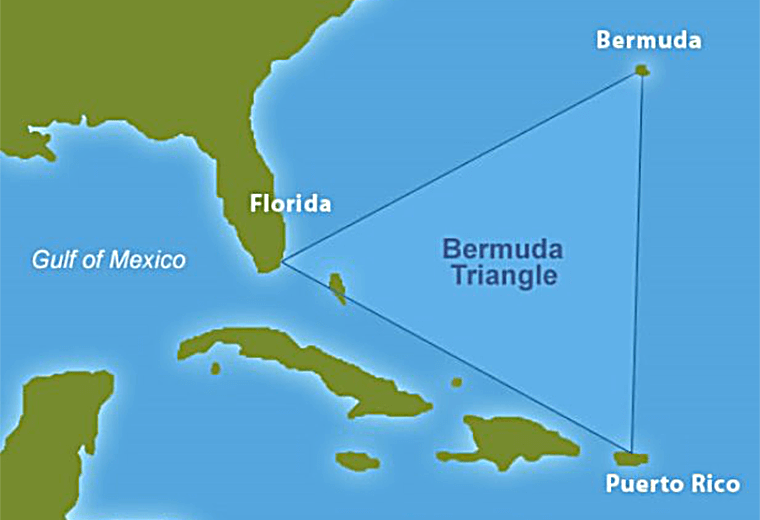 The Bermuda Triangle: 500,000 square miles of ocean between Bermuda, Miami and San Juan, Puerto Rico.