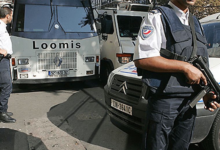 French police and vehicles