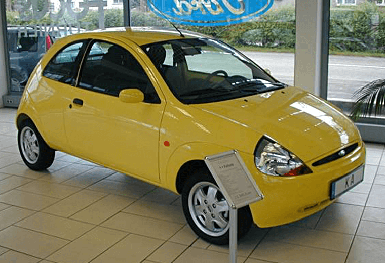 Yellow Ford Ka A Chunk Of Fruit On Wheels