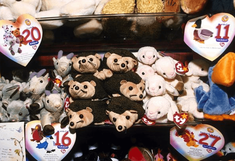A selection of Beanie Babies on shelves