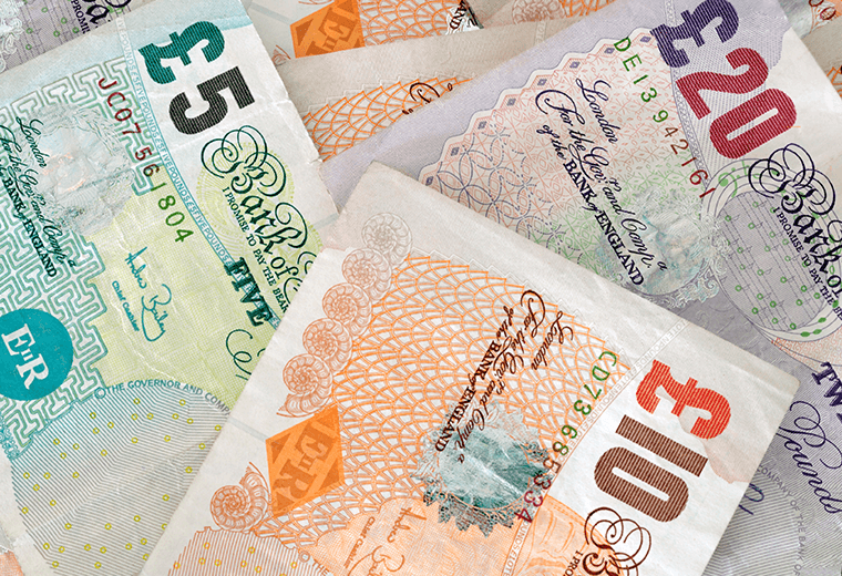 Close-up of English money notes
