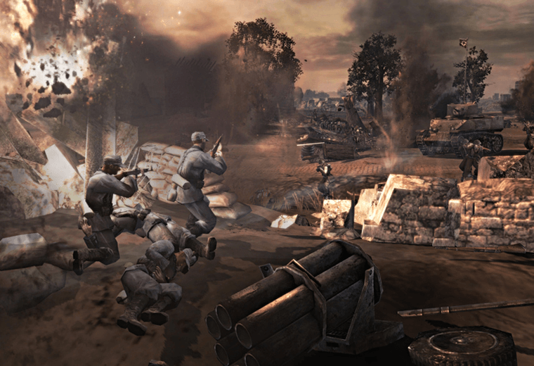 Company of Heroes: it's a strategy game. Not a boring one either.