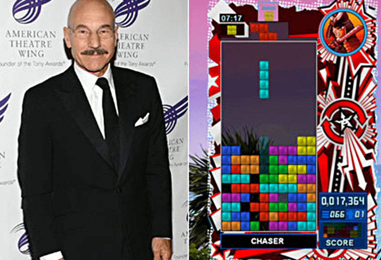 Patrick Stewart (left) and a Tetris screengrab (right)