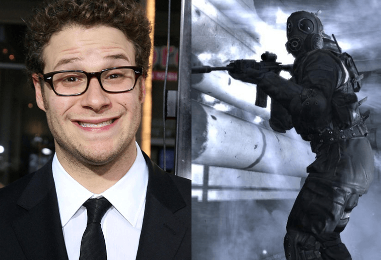 Seth Rogan (left) and Call of Duty screengrab (right)