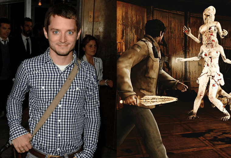 Elijah Wood (left) and Silent Hill video game screengrab (right)