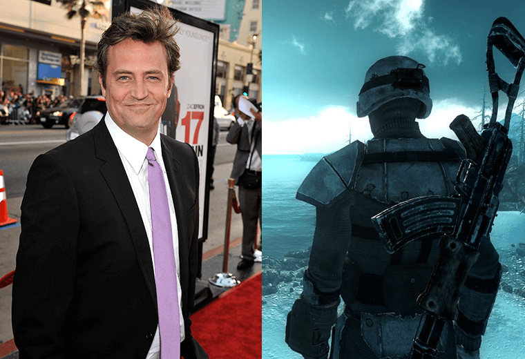 Matthew Perry (left) and video still of Fallout 3 (right)