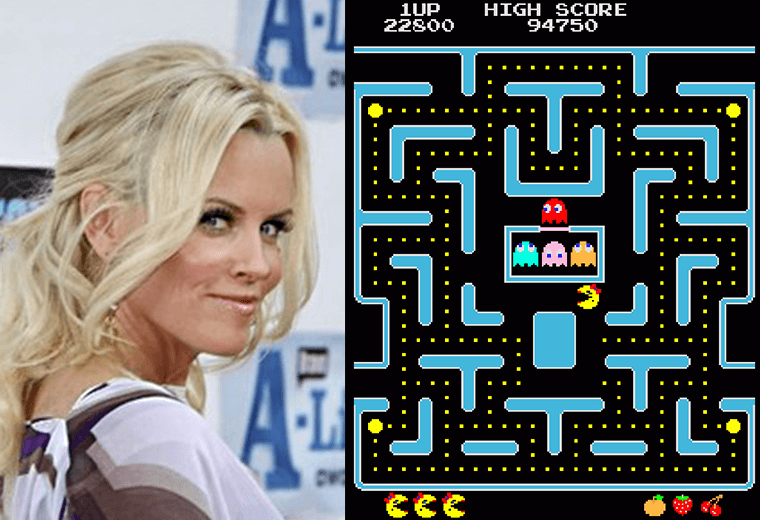 Jenny McCarthy (left) and Pac-Man video still (right)