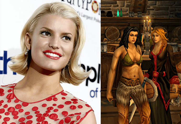 Jessica Simpson (left) and World of Warcraft (right)