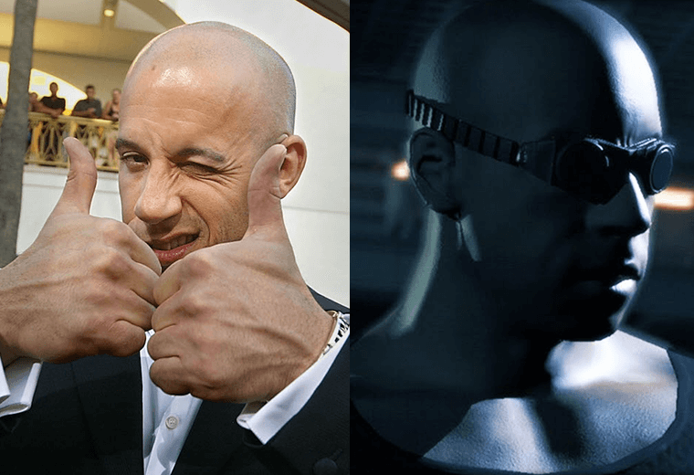 Vin Diesel (left) and a lookalike video game character (right)