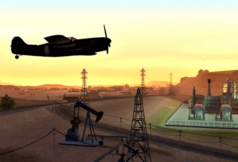 Video still of plane and sunset from Grand Theft Auto: San Andreas game