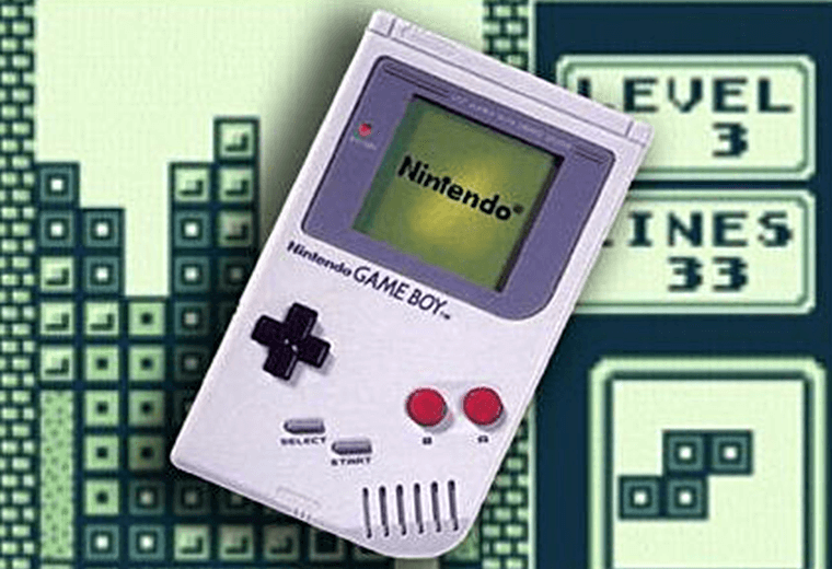 The Gameboy with Tetris background