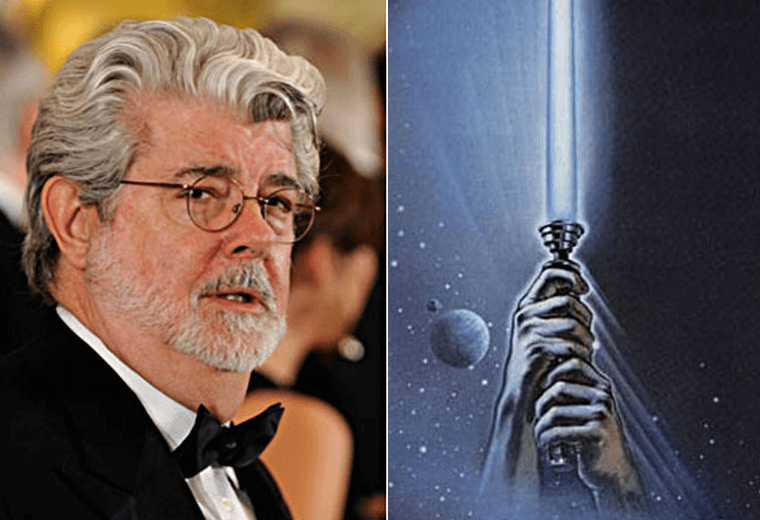 George Lucas is on the Return of the Jedi poster