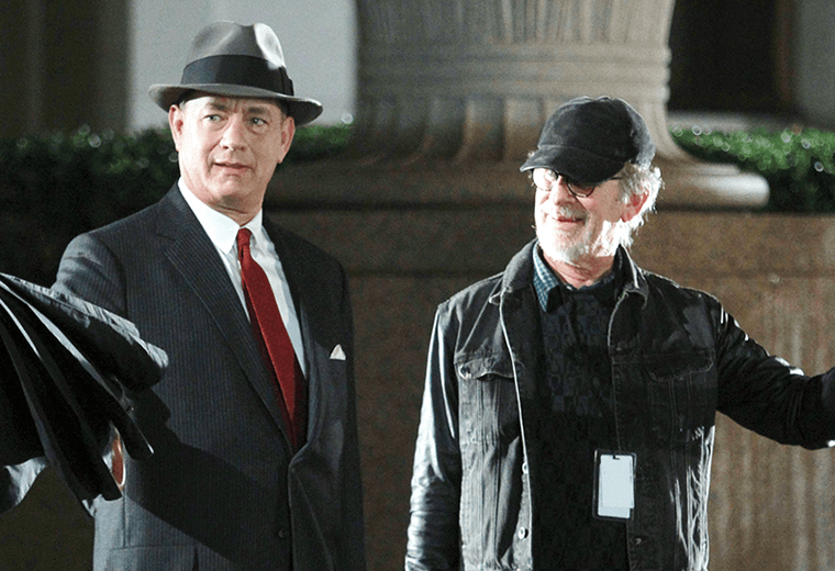 Tom Hanks and Steven Spielberg during filming of Bridge of Spies.