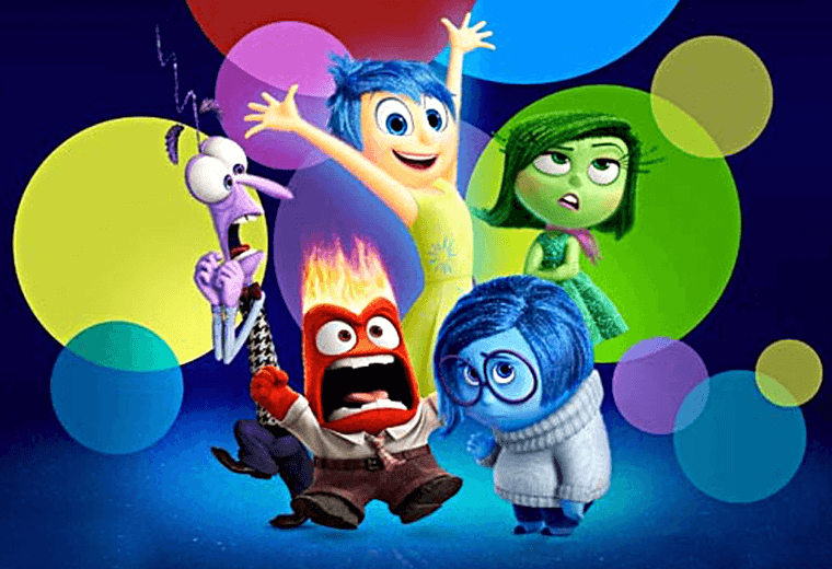 The five personified emotions in Disney Pixar's Inside Out.