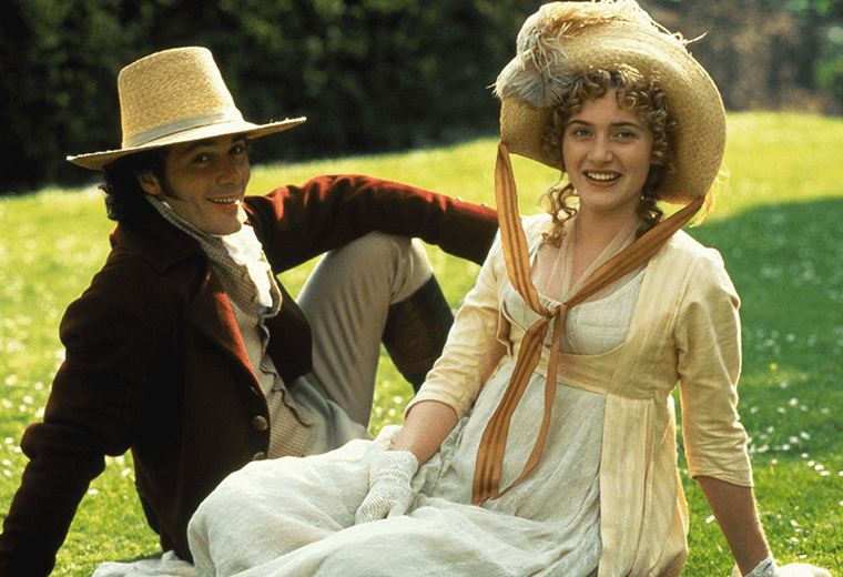Kate Winslet (Marianne Dashwood) and Greg Wise (John Willoughby) in Sense and Sensibility 1995.