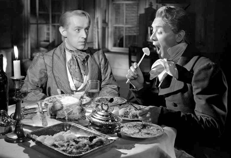 Alec Guinness (Herbert Pocket) and John Mills (Pip) in Great Expectations 1946