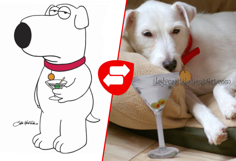Source: ladycaasi/deviantart Brian Griffin (Labrador Retriever)