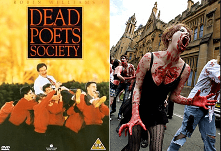 Undead Poet's Society: Keating teaching his zombie students.