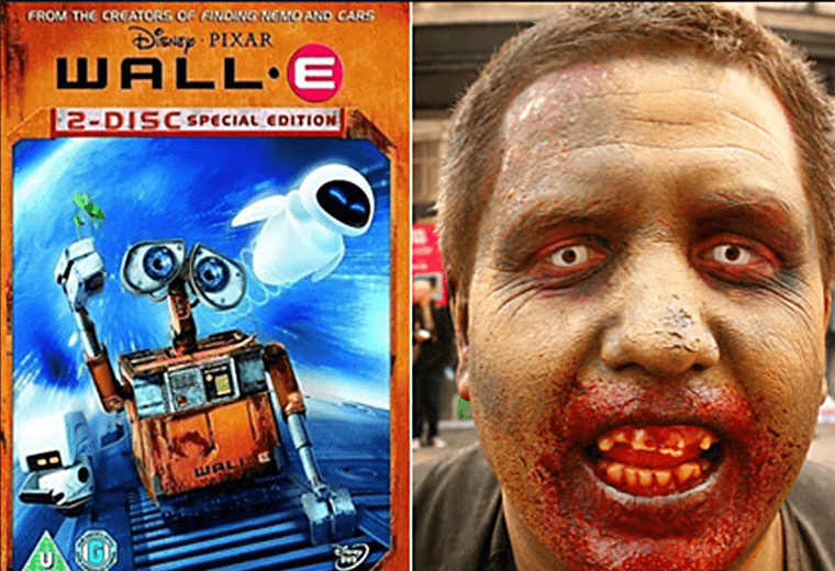 Wall-E and a someone in zombie makeup
