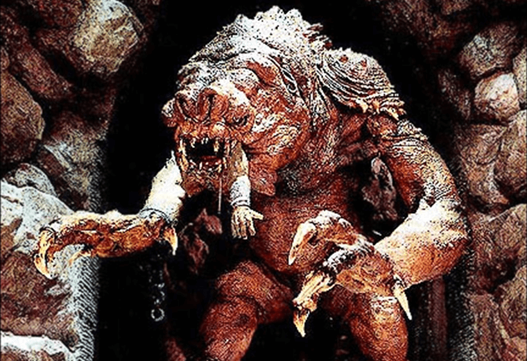 A stop-motion puppet was used for Rancor to make him look menacing enough.