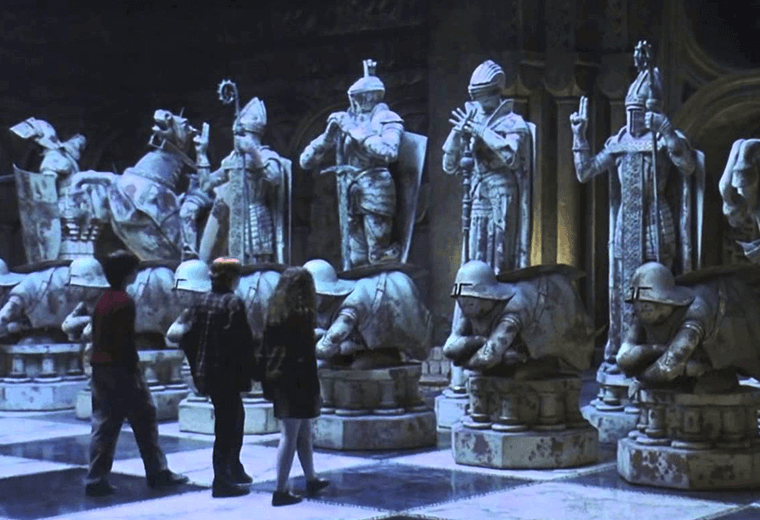 Giant wizard chess finale where the pieces come alive.