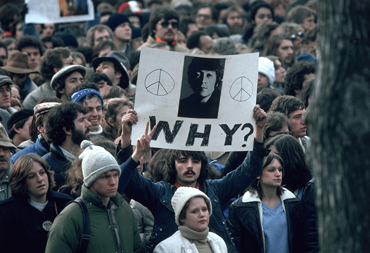 Mass protest following John Lennon's assassination