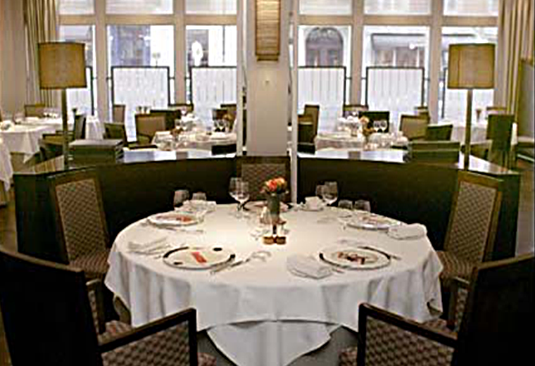 A laid table at The Square restaurant