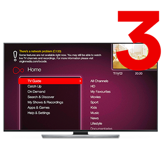 Step 3 of 3 - TV showing Virgin media restricted service message
