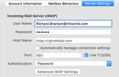 Imap Server Settings