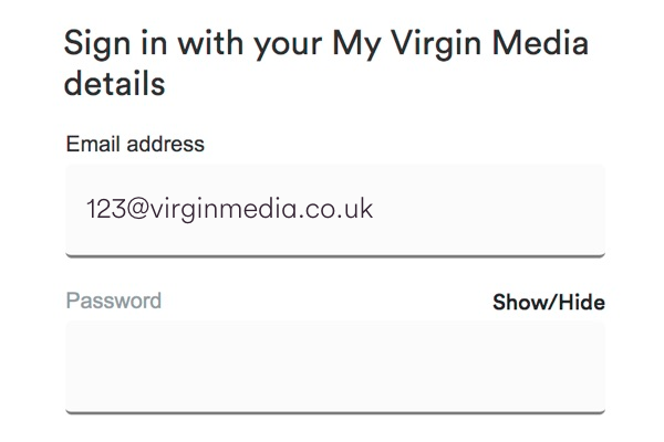 Sign in with your My Virgin Media user name