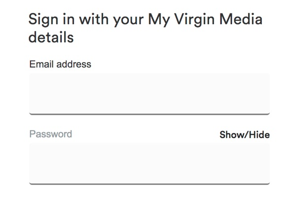 Sign in with your My Virgin Media details