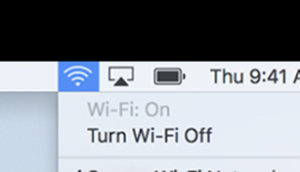 An image the WiFi icon in the menu bar