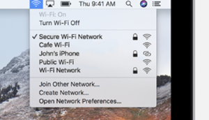 An image the WiFi drop down menu from the menu bar