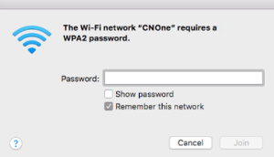 An image the WiFi password entry screen on a Mac