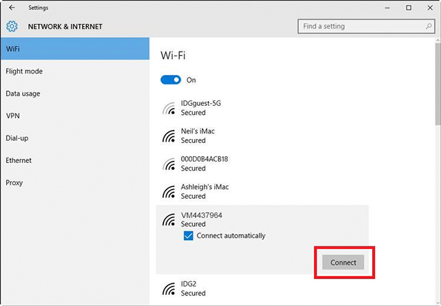Click on your WiFi network name, check the Connect automaitcally box and then click Connect.