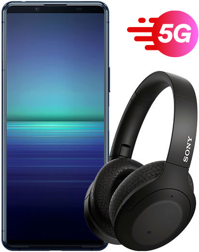 Sony Xperia 5 II Blue with Headphones