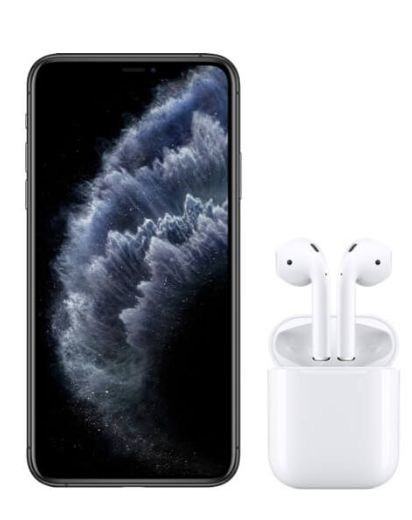 iPhone 11 Pro Max Space Grey and AirPods