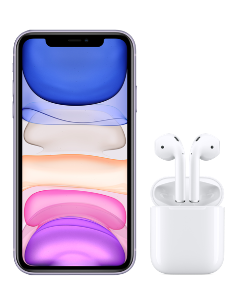 iPhone 11 Purple and AirPods