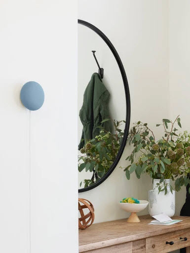 Blue Nest Mini mounted on wall near entryway table.