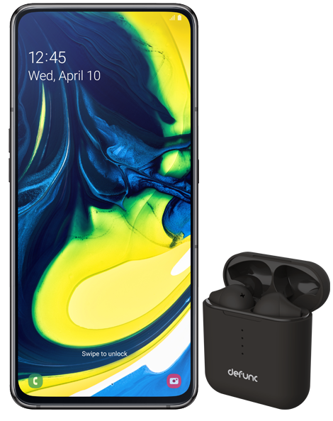 Samsung Galaxy A80 and Defunc TRUE GO earbuds