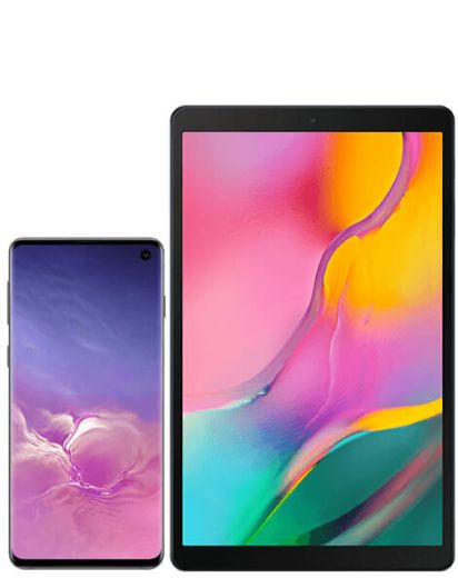 Samsung Galaxy S10 Prism Black with Galaxy Tab A