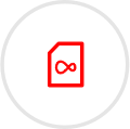 Red SIM icon with grey circular outline