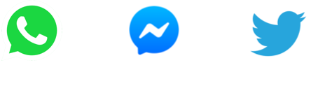 WhatsApp, Messenger and Twitter icons