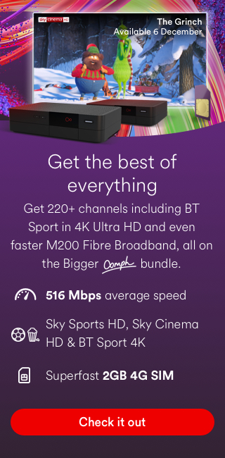 Fancy more of the good stuff? Get 220+ channels including BT Sport in 4K Ultra HD and even faster M100 Fibre Broadband, all on the Bigger bundle. 108Mbps average speed. BT Sport 4K and top Sky HD channels. Check it out.