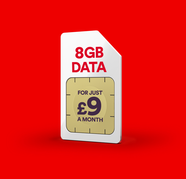 8GB data for just £9 a month!