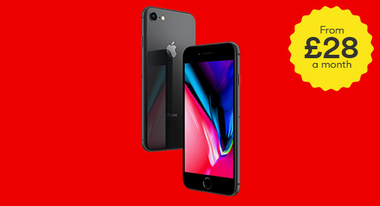 iPhone 8 at UK's lowest monthly price with no upfront fee. Hurry, ends 30th April