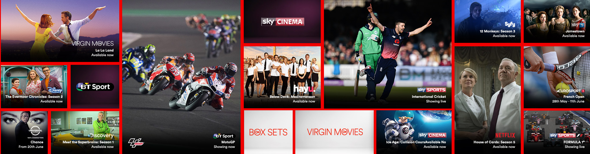 Gallery showing the live TV, catch up and on demand shows available with Big Kahuna Sports