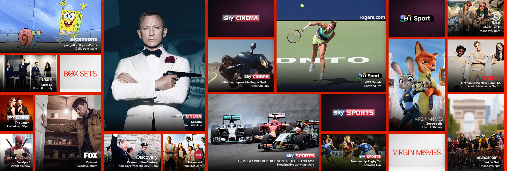 Gallery showing the live TV, catch up and on demand shows available with VIP